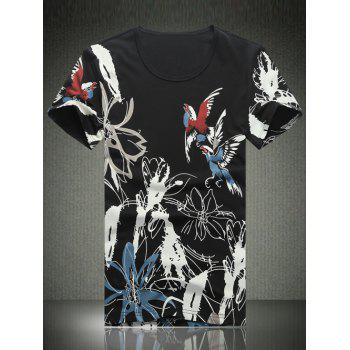 Plus Size Round Neck Ink Painting of Bird Print Short Sleeve Men's T-Shirt