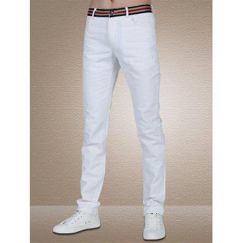 Men's Stylish Straight Leg Stripes Solid Color Pants
