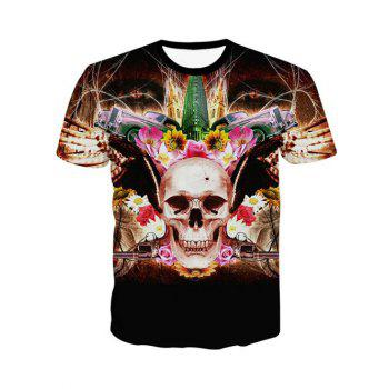 3D Personality Round Neck Skulls Floral Print Short Sleeve Men's T-Shirt - BLACK XL