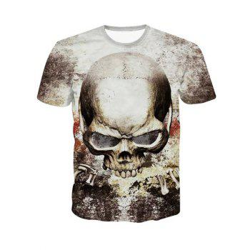 Buy 3D Personality Round Neck Skulls Printed Short Sleeve Men's T-Shirt COLORMIX