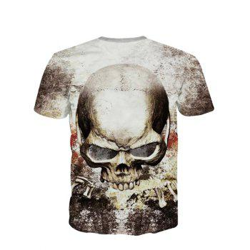 3D Personality Round Neck Skulls Printed Short Sleeve Men's T-Shirt - XL XL