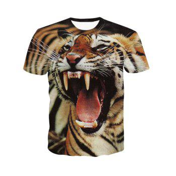 3D Round Neck Fierce Tiger Print Short Sleeve Men's T-Shirt