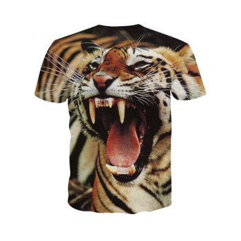 3D Round Neck Fierce Tiger Print Short Sleeve Men's T-Shirt - M M