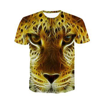 3D Personality Round Neck Leopard Head Print Short Sleeve Men's T-Shirt - COLORMIX COLORMIX