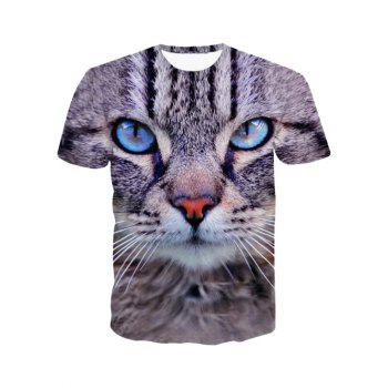 3D Round Neck Leopard Head Print Short Sleeve Men's T-Shirt - COLORMIX M