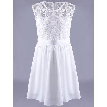 Trendy Jewel Neck Sleeveless Lace Spliced Dress For Women - WHITE L