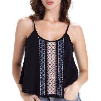 Trendy Spaghetti Strap Chiffon Embroidered Women's Tank Top