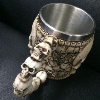 High Quality Horror Skull Drinkware 3D Knight Mug Stainless Steel Skull Decor Cup - BRONZE COLORED
