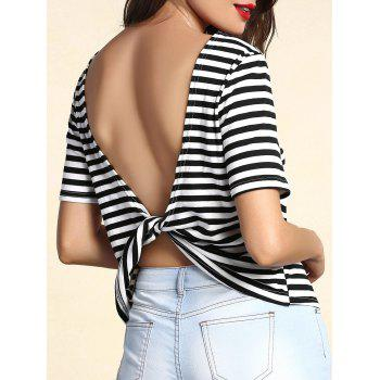 Trendy Striped Short Sleeve Backless Twist T-Shirt For Women