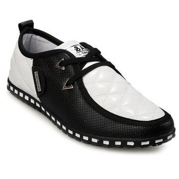 Buy Stylish Colour Block Plaid Design Men's Casual Shoes WHITE/BLACK