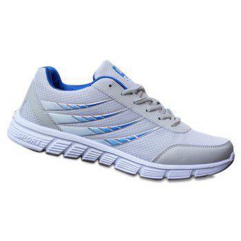 Trendy Hit Colour and Breathable Design Men's Athletic Shoes - BLUE+GRAY 39