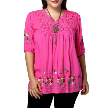 Plus Size V Neck Flroal Embroidery Blouse