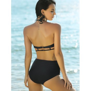 Stylish Women's Halter Neck High Waist Bikini Set - BLACK XL