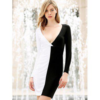 Women's Polyester Color Matching Off Breast Stitching Hollow Out Backless Packet Buttock Alluring Cut Out Dress - BLACK OR WHITE M