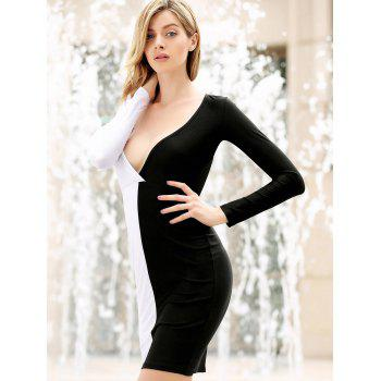Women's Polyester Color Matching Off Breast Stitching Hollow Out Backless Packet Buttock Alluring Cut Out Dress