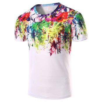 Men's 3D Abstract Printed Round Neck Short Sleeve T-Shirt