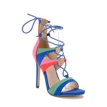 Trendy Lace-Up and Color Block Design Sandals For Women