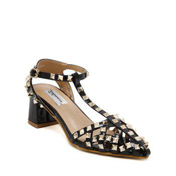 Punk Rivet and T-Strap Design Sandals For Women