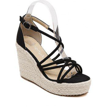 Leisure Cross-Strap and Wedge Heel Design Sandals For Women