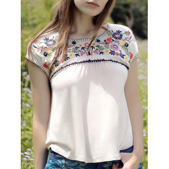 Casual Flower Embroidered Square Cut Women's T-Shirt