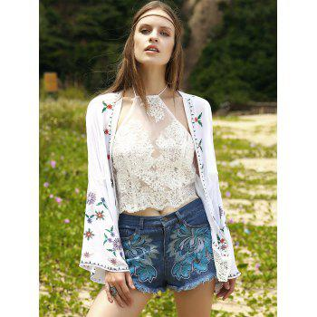 Casual Pockets Embroidery Denim Shorts For Women - ICE BLUE M