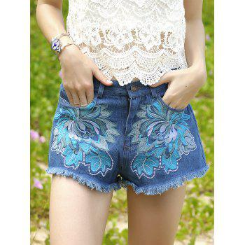 Casual Pockets Embroidery Denim Shorts For Women