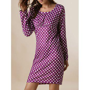 Vintage Round Neck Long Sleeve Bodycon Polka Dot Women's Dress