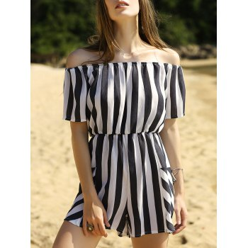 Stylish Off The Shoulder Striped Women's Romper