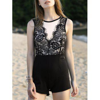 Stylish Round Neck Sleeveless Lace Spliced Women's Romper