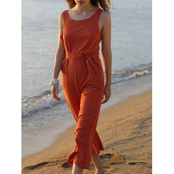 Stylish Round Neck Sleeveless Bowknot Solid Color Women's Jumpsuit