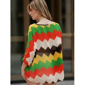 Casual Boat Neck Color Block Batwing Sleeve Chiffon Blouse For Women - AS THE PICTURE XL