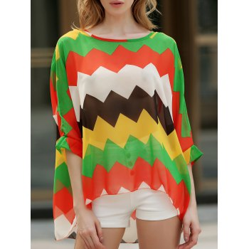 Casual Boat Neck Color Block Batwing Sleeve Chiffon Blouse For Women
