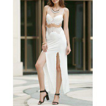 Lace Panel Cami Slit Backless Long Cocktail Dress