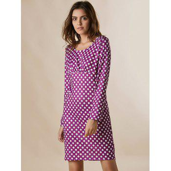Vintage Round Neck Long Sleeve Bodycon Polka Dot Women's Dress - PURPLE S