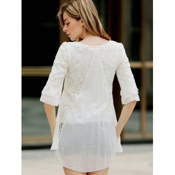 Women's Graceful Hook Flower Hollow Out Pleated Solid Color 3/4 Sleeves Dress - WHITE ONE SIZE
