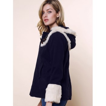 Fashionable Style Long Sleeves Cashmere Color Block Horns Buckle Women's Coat - NAVY L