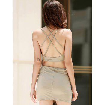Alluring Scoop Collar Sleeveless Cut Out Solid Color Women's Club Dress - SAGE GREEN S
