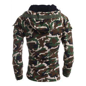 Loose Fit Hooded Fashion Multi-Pocket Camo Pattern Long Sleeve Men's Thicken Cotton Blend Coat - ARMY GREEN M