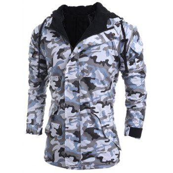 Loose Fit Hooded Fashion Multi-Pocket Camo Pattern Long Sleeve Men's Thicken Cotton Blend Coat - LIGHT GRAY L