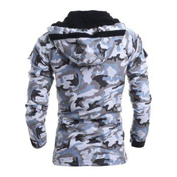 Loose Fit Hooded Fashion Multi-Pocket Camo Pattern Long Sleeve Men's Thicken Cotton Blend Coat - LIGHT GRAY 2XL