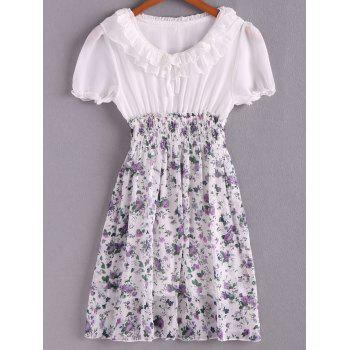 Spring New Arrival Sweet and Lovely Floral Patterns High Elastic Waist Short Sleeve Chiffon Dress - RED RED