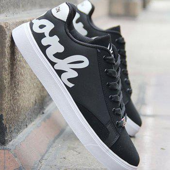 Stylish Lace-Up and Letter Pattern Design Men's Casual Shoes - BLACK 44