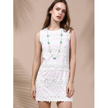 Endearing Lace Spliced Sleeveless White Dress For Women - WHITE M