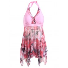 Stylish Plus Size Women's Halter Printed High Low One Piece Swimwear
