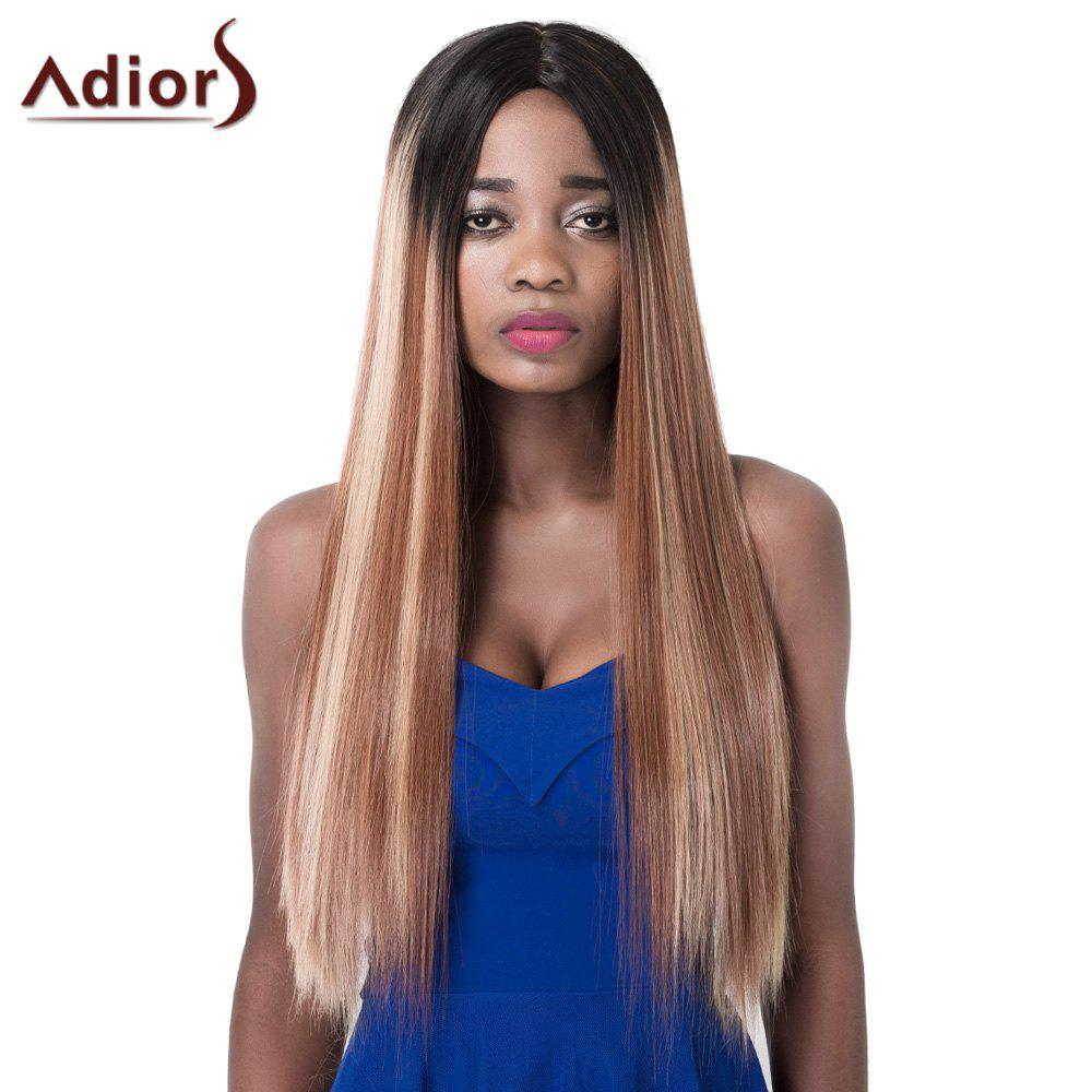 Trendy Mixed Color Synthetic Long Straight Centre Parting Women's Adiors Wig