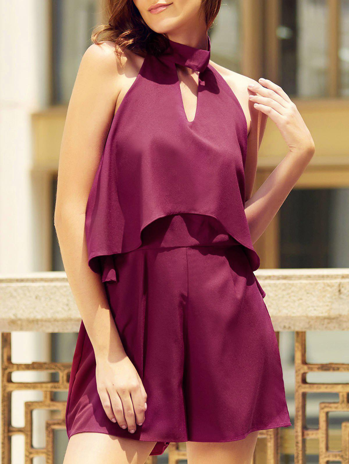 Trendy Halter Neck Sleeveless Solid Color Backless Flounced Women's Romper - DARK RED S