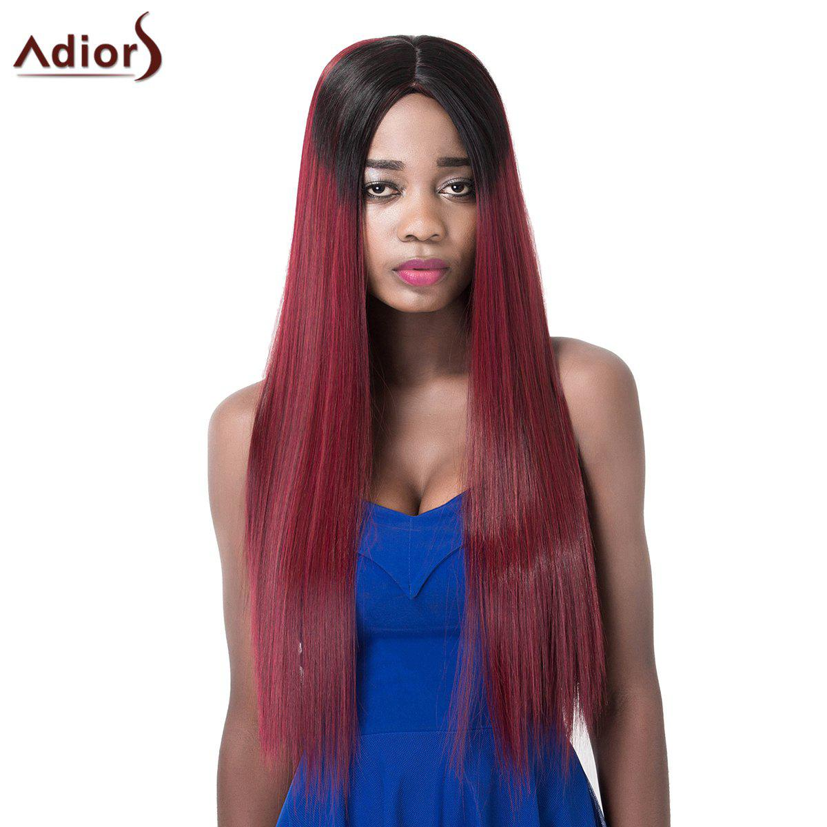 Prevailing Long Silky Straight Ombre Color Synthetic Centre Parting Adiors Wig For Women - COLORMIX
