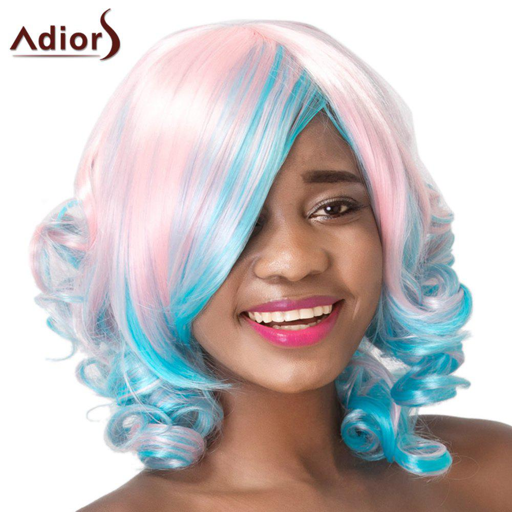 Adiors Curly Side Bang High Temperature Fiber Wig For Women adiors women s high temperature fiber neat bang wig