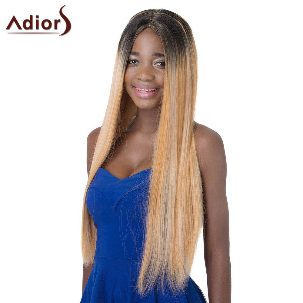 Fascinating Mixed Color Long Silky Straight Synthetic Centre Parting Adiors Wig For Women - COLORMIX
