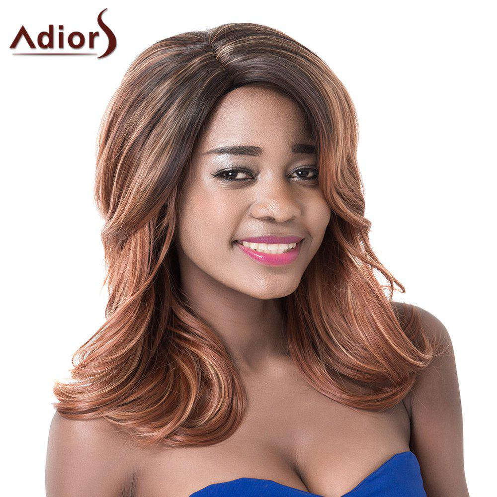 Shaggy Long Wave Capless Stylish Side Bang Black Brown Mixed Women's Synthetic Adiors Wig - COLORMIX